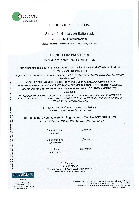 FGAS Certificato
